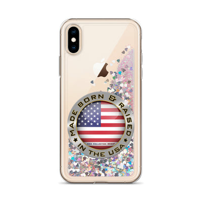 Made Born and Raised in the USA - Liquid Glitter Phone Case