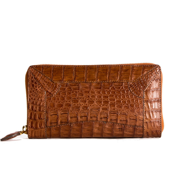 Rose Zipped Purse All Croc Cognac - Kalamarie - JustSoStyle
