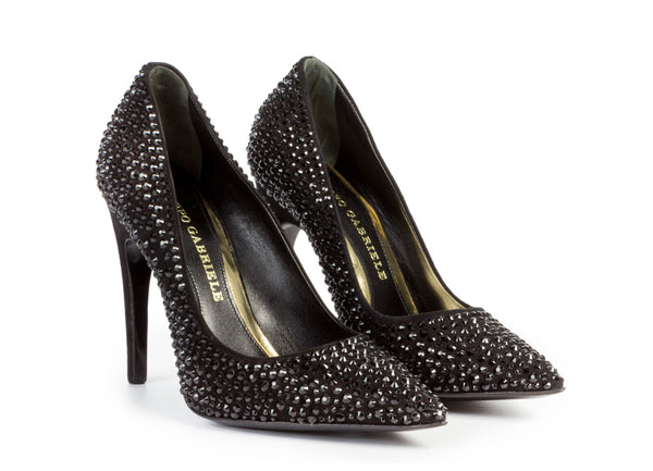 luxurious pumps, from ultra-luxe suede, with Swarovski crystals