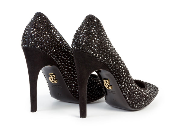 pumps, from ultra-luxe suede, with Swarovski crystals