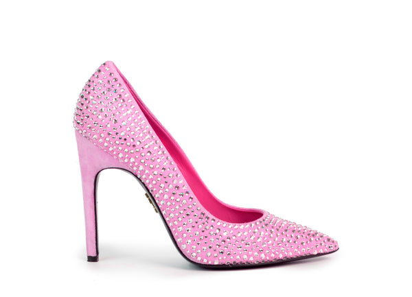women's, luxurious pumps, from ultra-luxe suede, with Swarovski crystals
