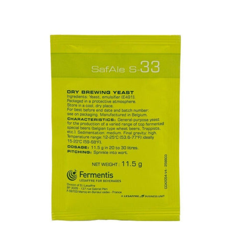 Fermentis SafAle™ S-33 11.5 g - Homebrew Supplies in Vermont