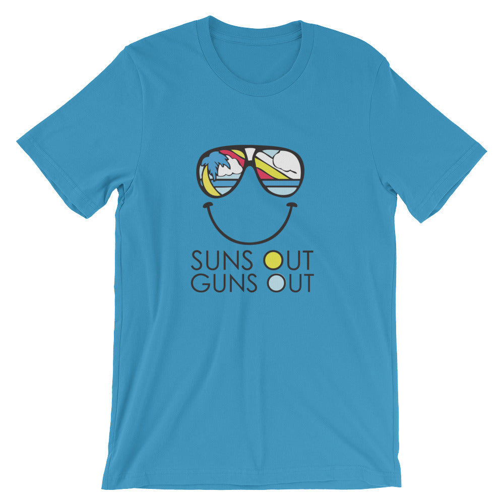 sunglasses suns out guns out tee