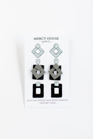 Black and Gray Interchangeable Earrings