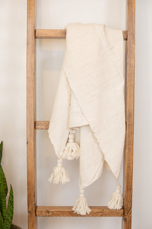 Cream Tassel Throw Blanket Blanket - Fair Trade - Mercy House Global