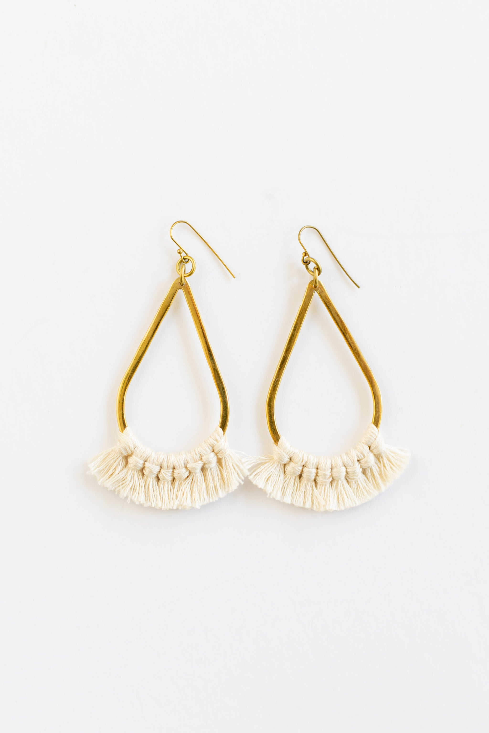 Teardrop Fringe Earrings | Cream Earrings - Fair Trade - Mercy House Global