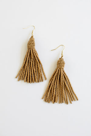 Gold Beaded Tassel Earring Earrings - Fair Trade - Mercy House Global
