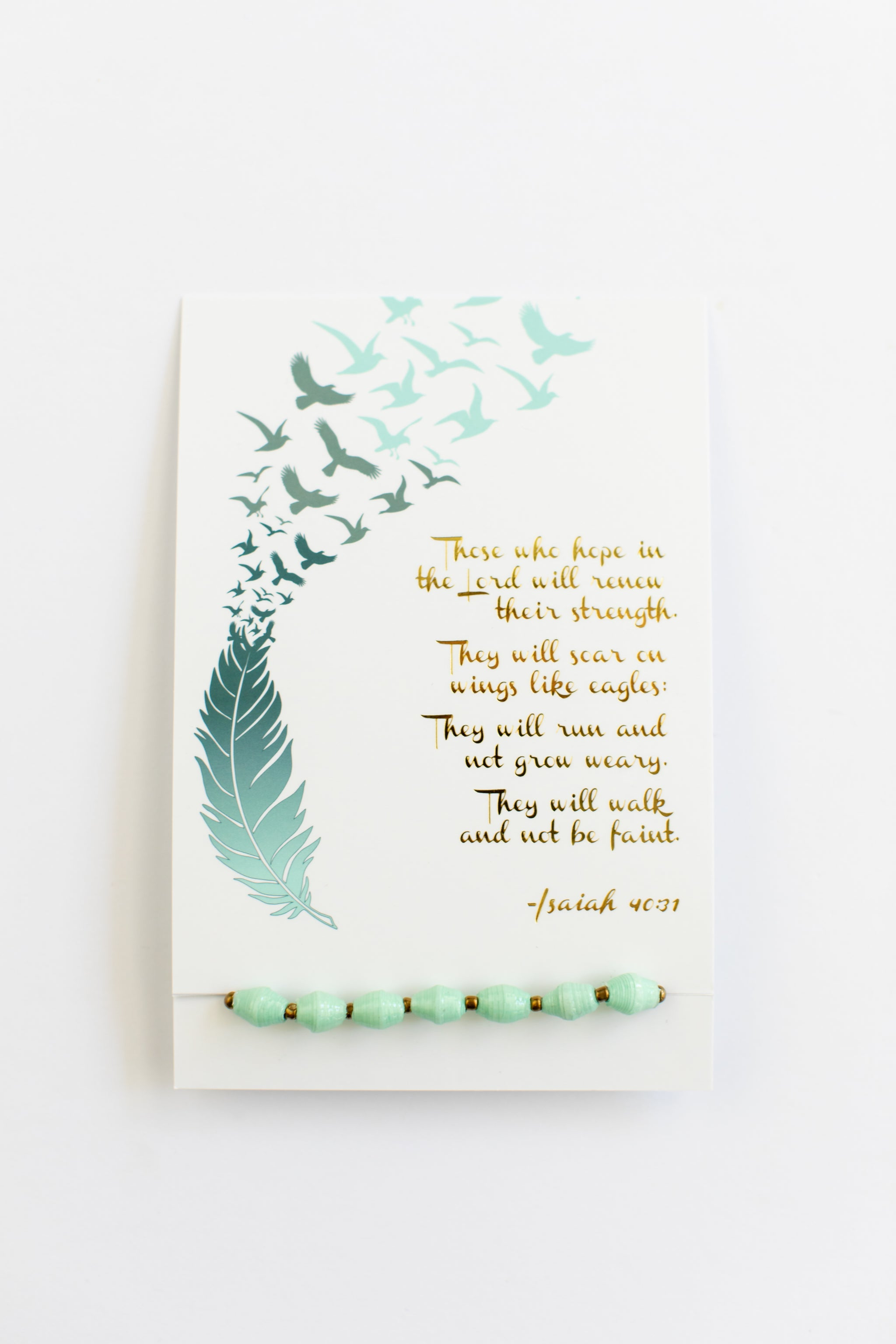 Isaiah 40:31 Card + Paper Bead Bracelet Bracelet - Fair Trade - Mercy House Global