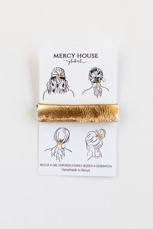 Gold Shimmer Leather Hair Tie