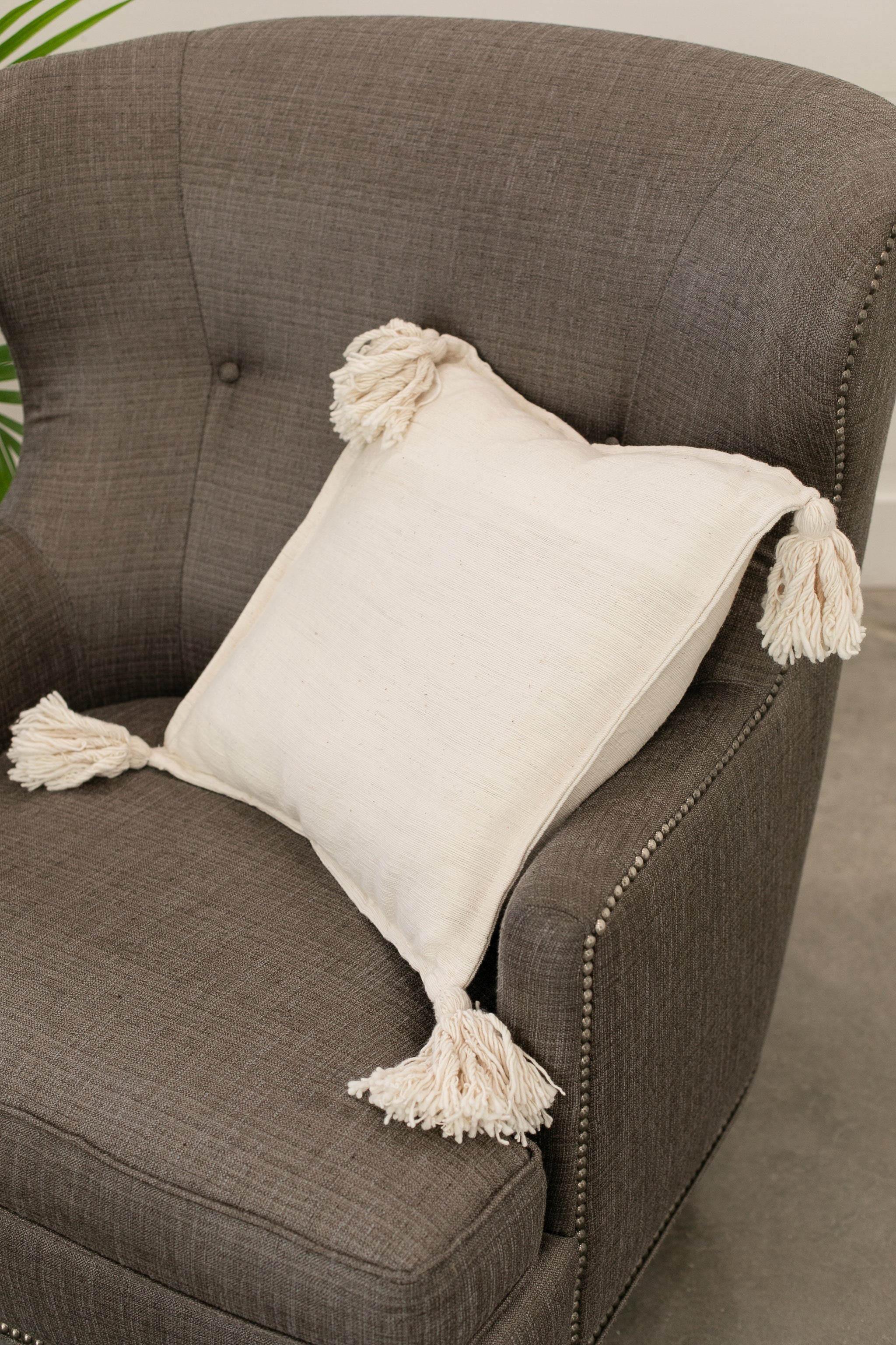 Cream Tassel Pillow Covers | Square Pillow - Fair Trade - Mercy House Global