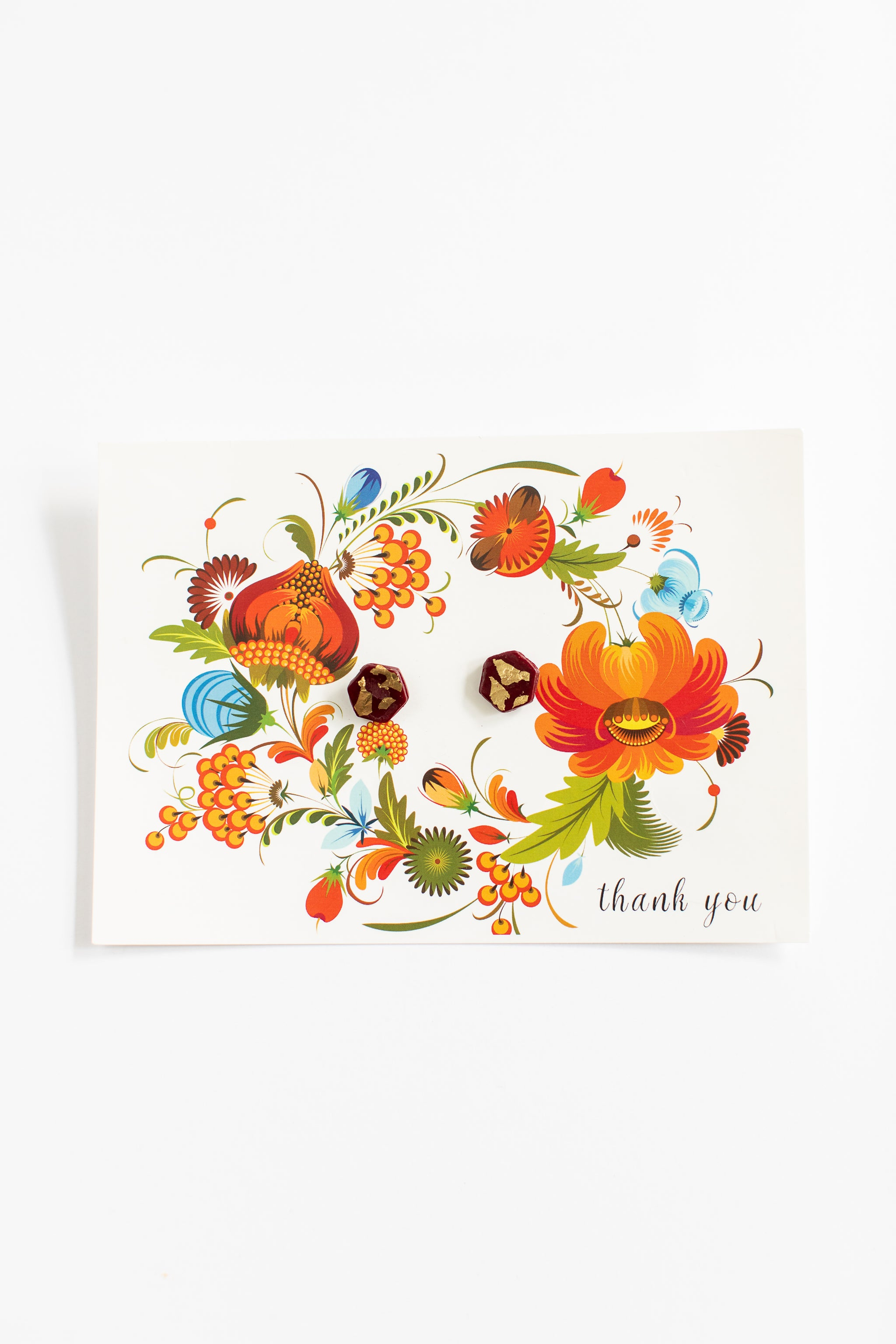 Thank You Greeting Card + Crimson + Gold Clay Stud Earring