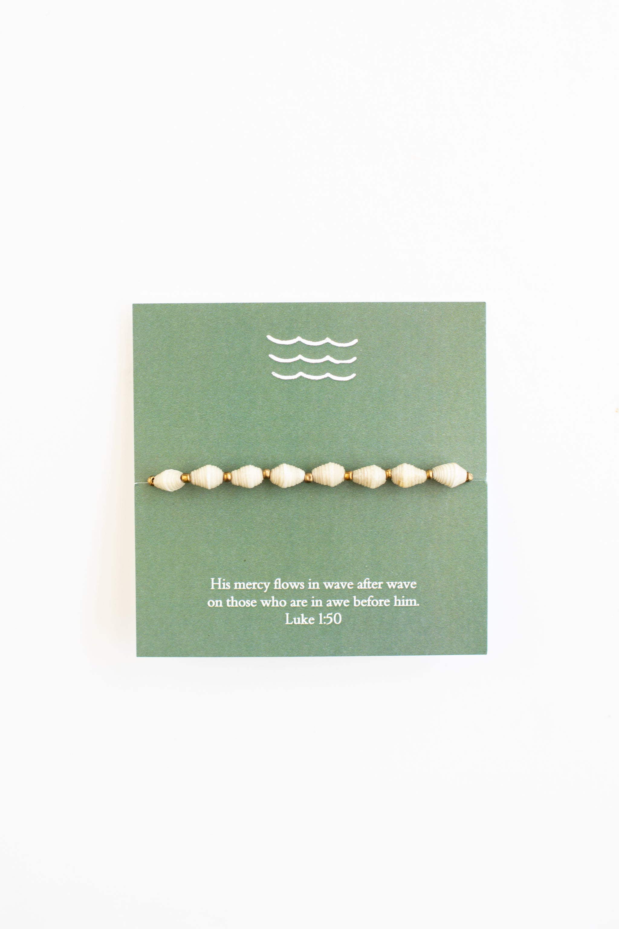 Paper Bead Bracelet & Waves Card - Luke 1:50 Bracelet - Fair Trade - Mercy House Global