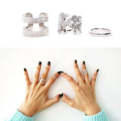 Vintage Punk Style Leaf Ring Set