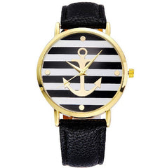 Leather Strap Anchor Wristwatch