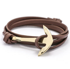 Multilayer Anchor Leather Bracelet