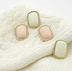 Bordered Pink Rectangle Gem Stud Earring