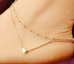 Heart Pendant Two Chains Golden Anklet