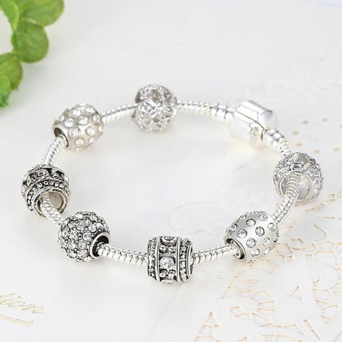 Silver Plated Crystal Bead Charm Bracelet