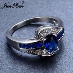 Blue Oval Zircon Stone Ring