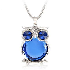 Rhinestone Crystal Owl Necklace