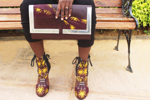 African Print Purse & Lace-Up Shoes