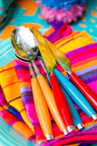 Mexican Fabric napkins, Bulk Set of 6 striped assorted colors