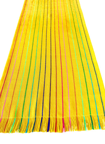 Mexican Fabric Table Runner - striped yellow