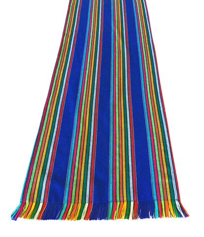 Mexican fabric Table Runner Colorful Blue stripes - MesaChic - 1
