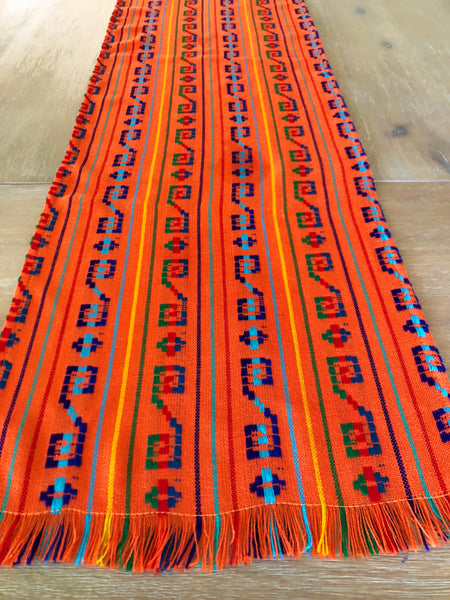 Mexican Fabric Red Woven Bohemian Table Runner Mesachic