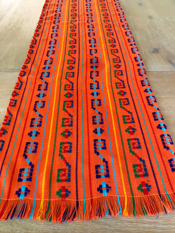 Mexican Fabric Table Runner or Tablecloth Bohemian Orange embroidered