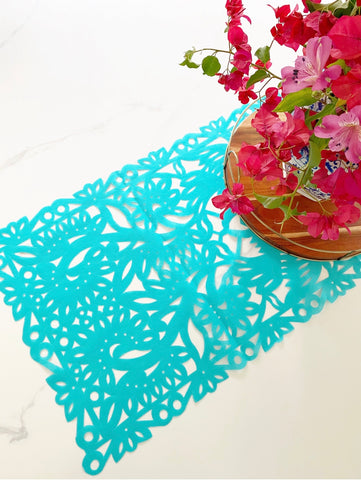 Mexican fabric Table Runner Papel Picado design - turquoise