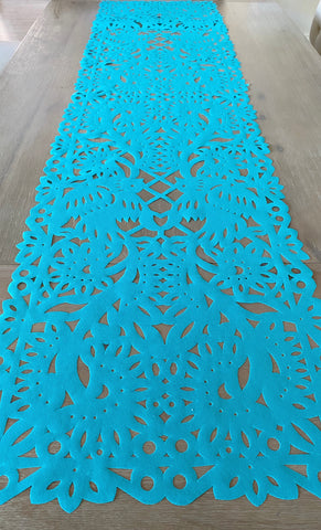 Mexican fabric Table Runner Papel Picado design - light blue