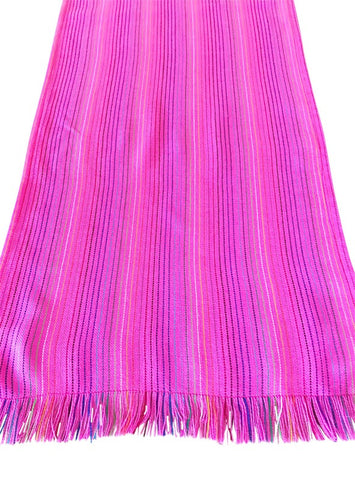 Mexican fabric Table Runner Light Pink stripes