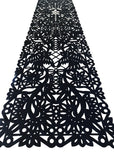 Mexican fabric Table Runner Papel Picado design -Black