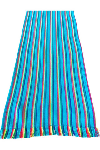 Mexican Table Runner Turquoise Stripes