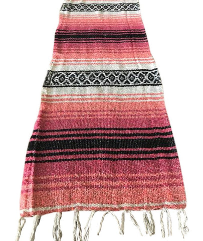 Bohemian Rustic Coral Table Runner with Fringe