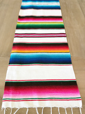 Mexican Serape Table Runner White Colorful Accents