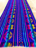 Mexican Fabric Table Runner or Tablecloth rainbow blue