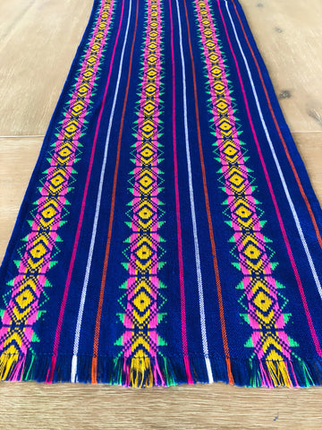 Mexican Fiesta Table Runner or Tablecloth tribal blue