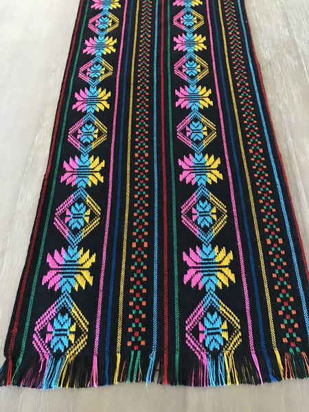 Mexican Table Runner Woven Colorful Black Design Mesachic