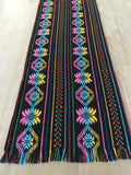Mexican Table Runner Woven Colorful black design - MesaChic - 2