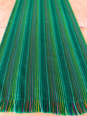 Mexican Fabric Table Runner - Thin stripes green fabric