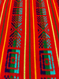 Mexican Fabric Table Runner - Red squares
