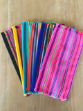 Mexican Fabric napkins, Bulk Set of 6 striped assorted colors - MesaChic