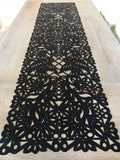 Mexican fabric Table Runner Papel Picado design -Black - MesaChic - 2