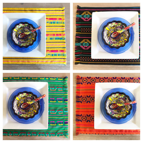 Mexican placemats set of 6 -assorted colors