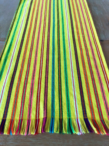 Mexican Fabric Table Runner - striped pale yellow
