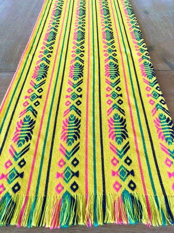 Mexican Fabric Table Runner - Yellow woven