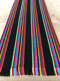 Mexican Fabric Table Runner - Black wide stripes