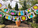 Papel Picado banner - hand painted white